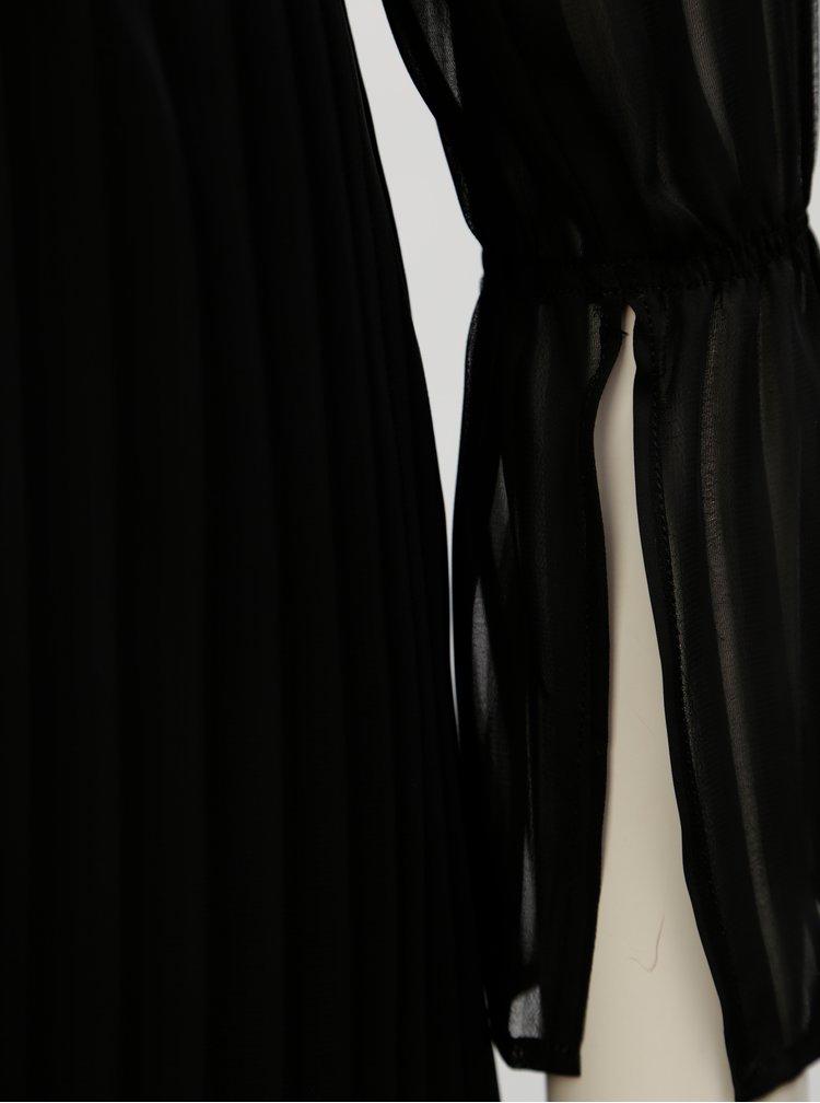 Černé pruhované šaty s volány THAÏS & STRÖE