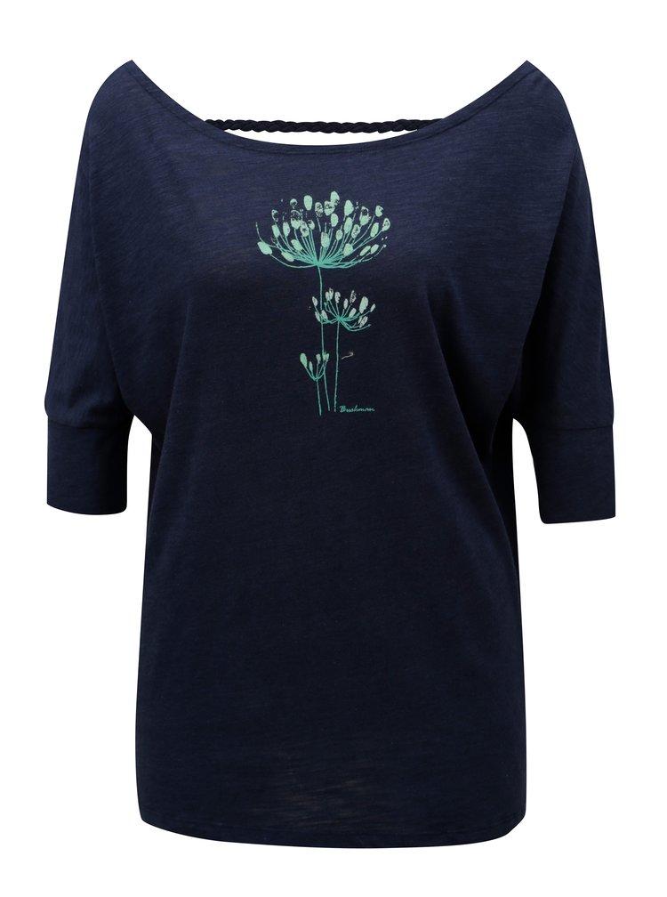 Tmavě modré dámské tričko s výstřihem na zádech BUSHMAN Sanlanta