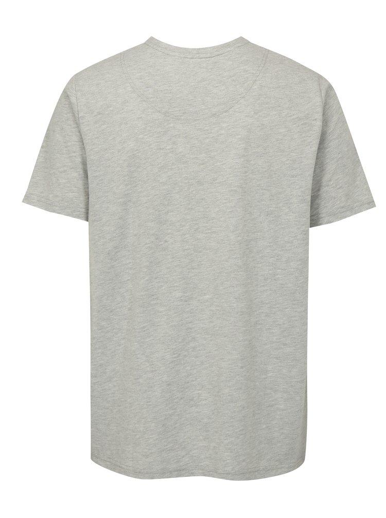 Světle šedé žíhané tričko s potiskem JP 1880