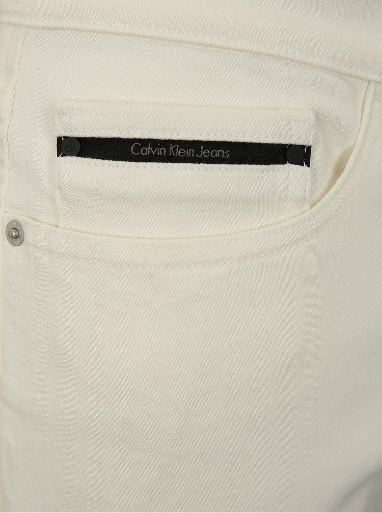 Krémové pánské džínové slim kraťasy Calvin Klein Jeans