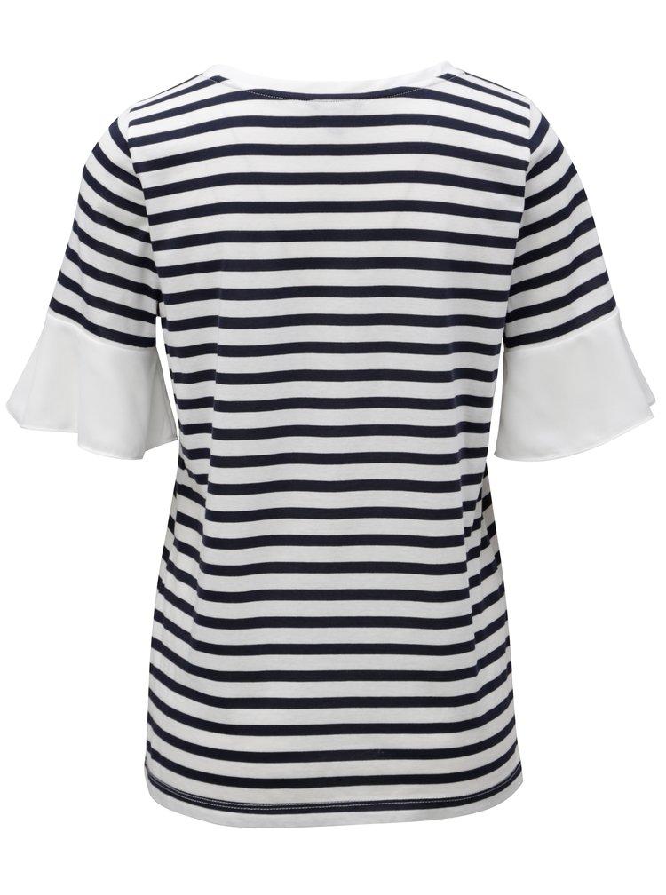 Modro-bílé pruhované tričko s volány na rukávech Nautica