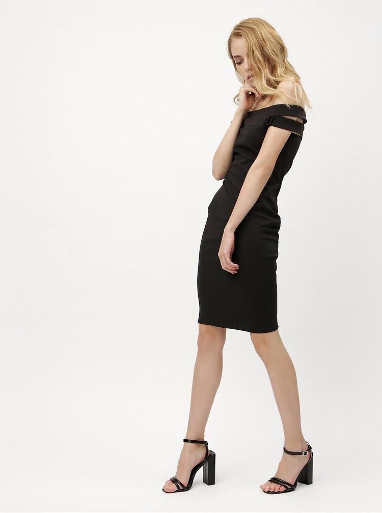 Čierne šaty s prestrihmi na ramenách ZOOT