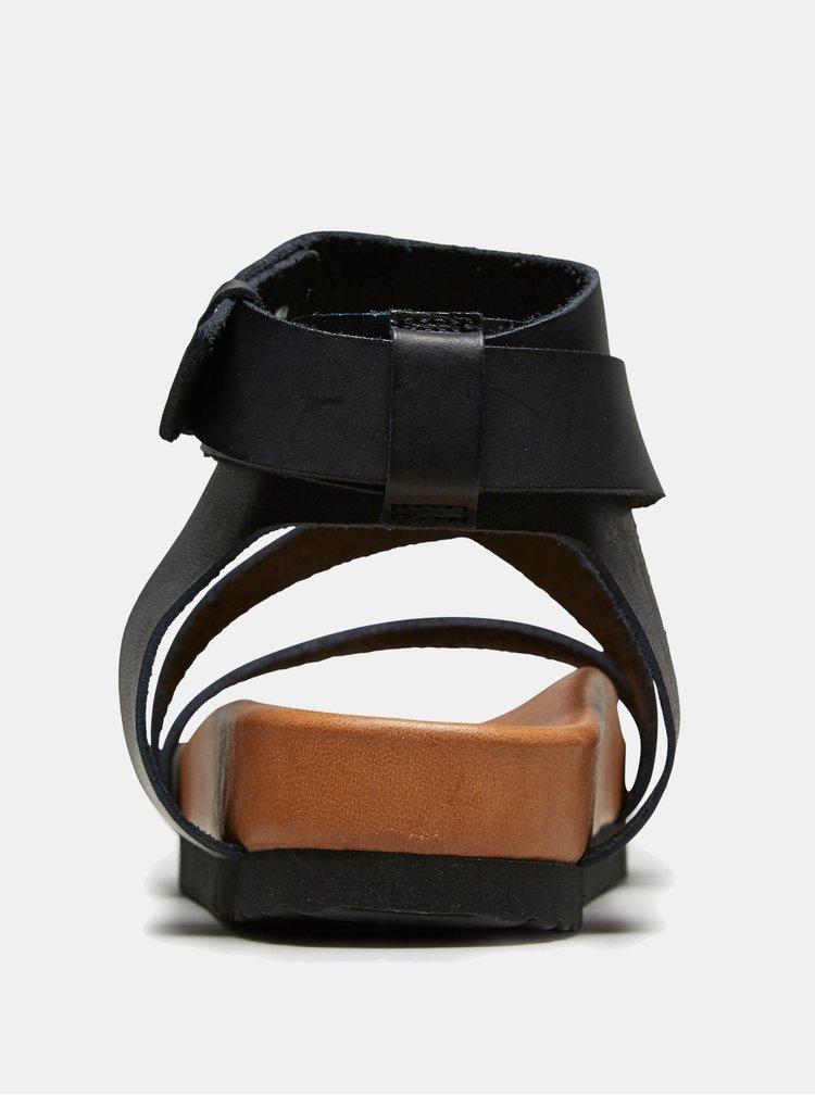 Sandale negri din piele naturala Selected Femme Strap