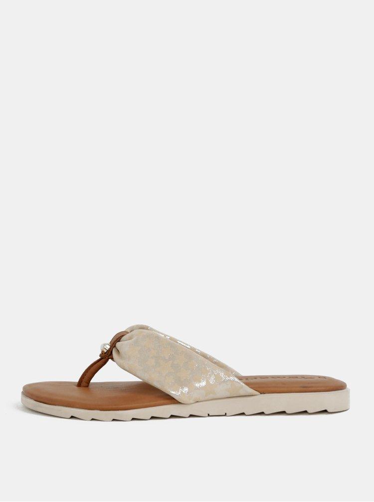 Papuci flip-flop maro-crem din piele naturala Tamaris