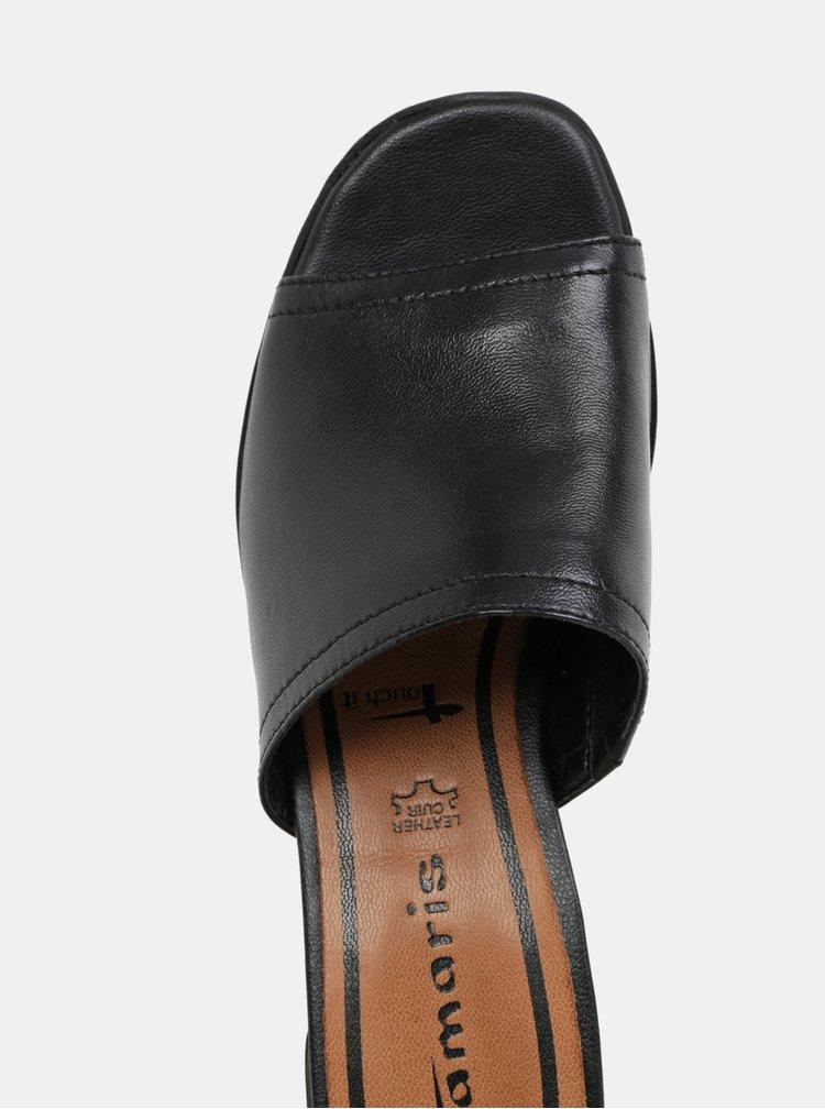 Papuci negri din piele naturala cu toc Tamaris