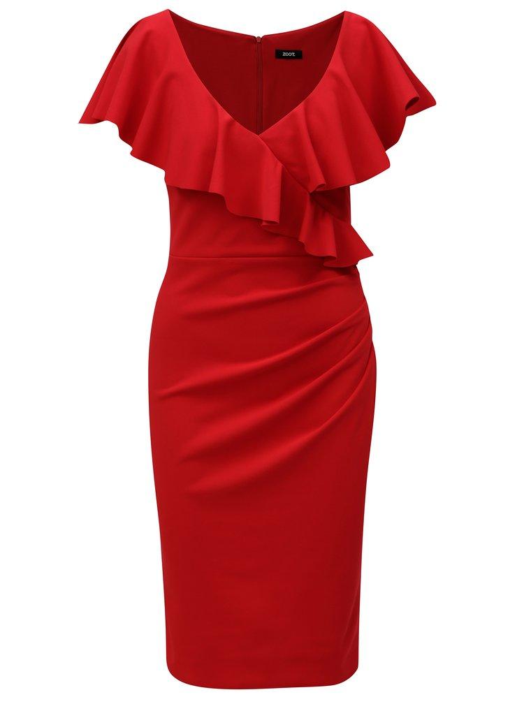 Červené šaty s volánmi ZOOT