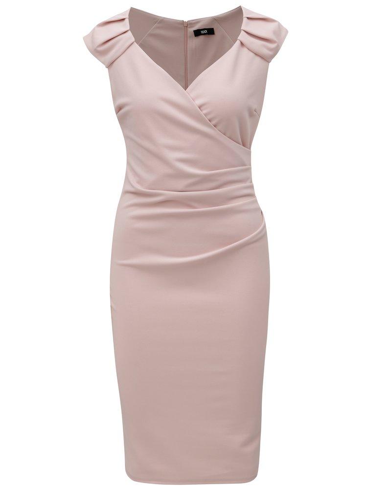Světle růžové šaty s překládaným výstřihem ZOOT