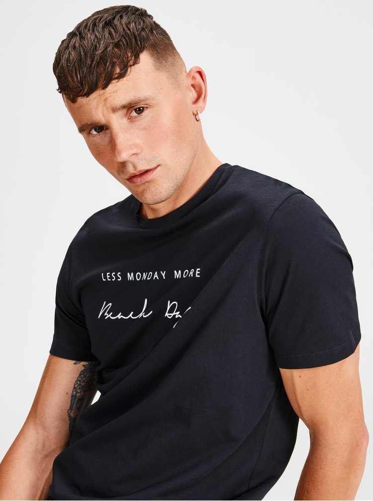 Tricou negru cu print Jack & Jones Lilas