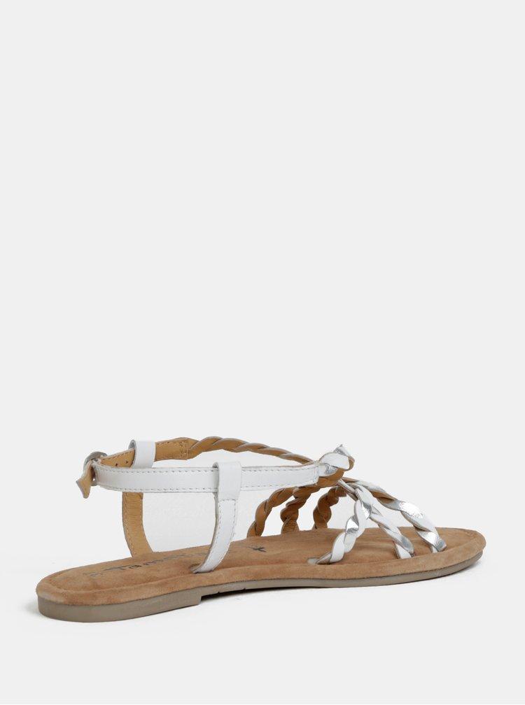 Hnědo-bílé kožené sandály Tamaris