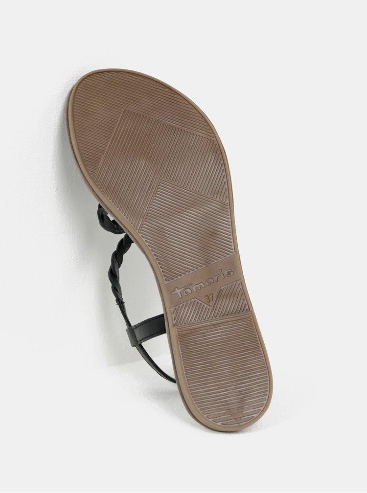 Béžovo-černé kožené sandály Tamaris