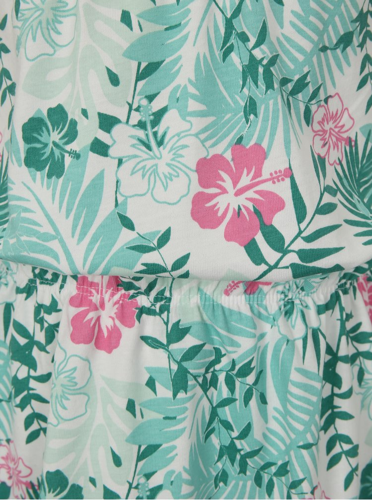 Bílo-zelené vzorované šaty s gumou v pase name it Vigga
