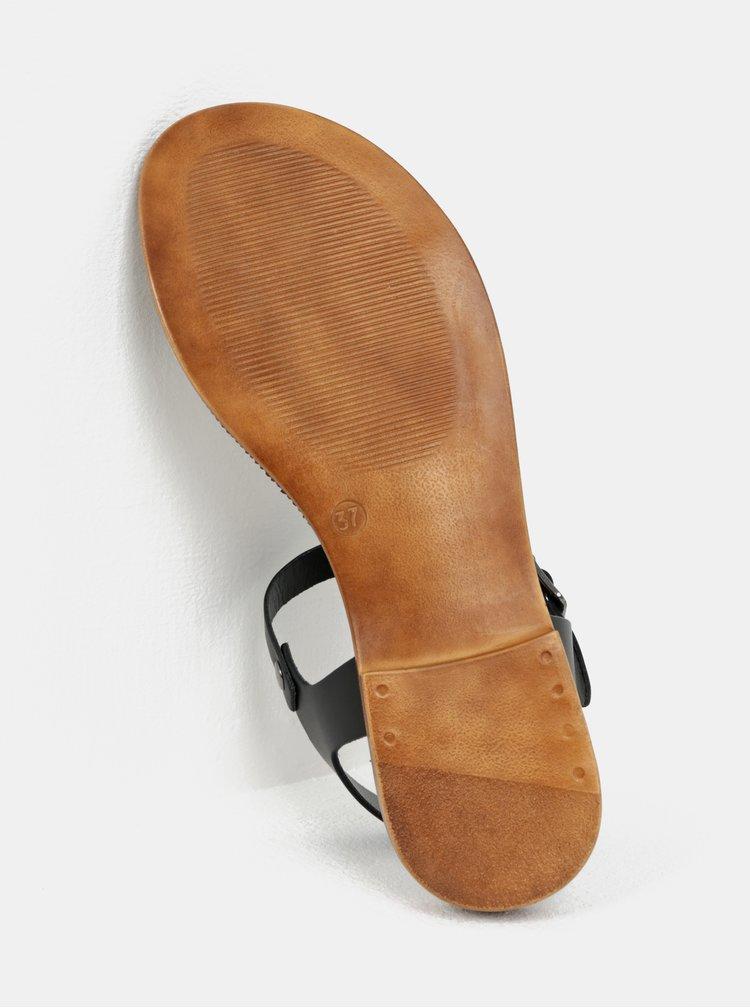 Sandale crem-negru din piele naturala Tamaris