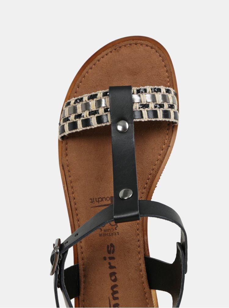 Krémovo-černé kožené sandály Tamaris