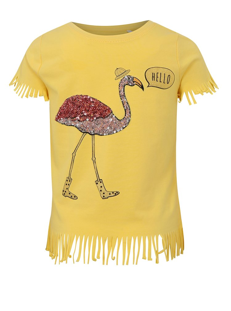 Žluté holčičí tričko s třásněmi name it Johanne