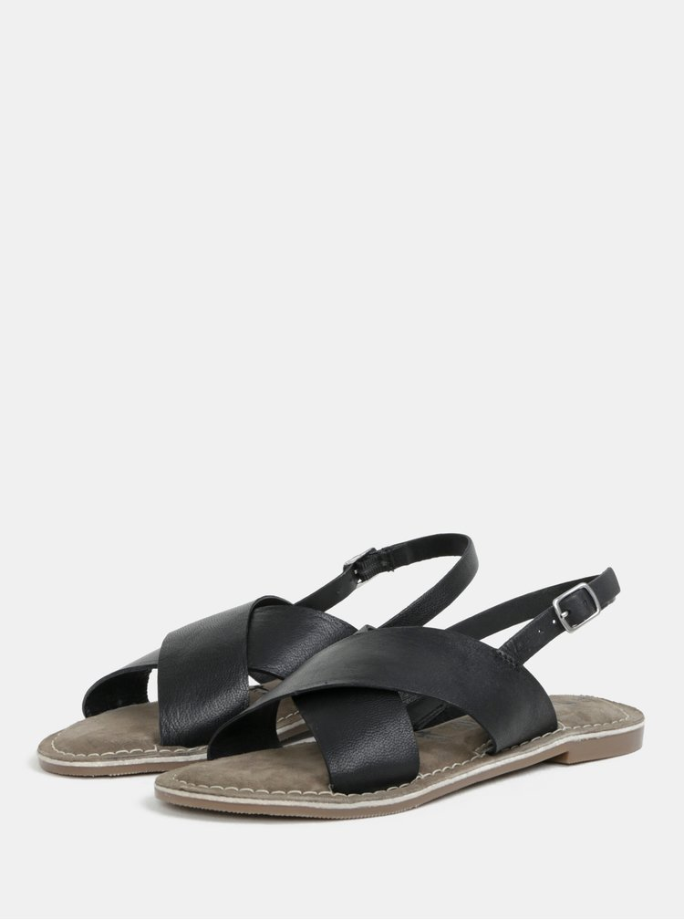 Černé kožené sandály Tamaris