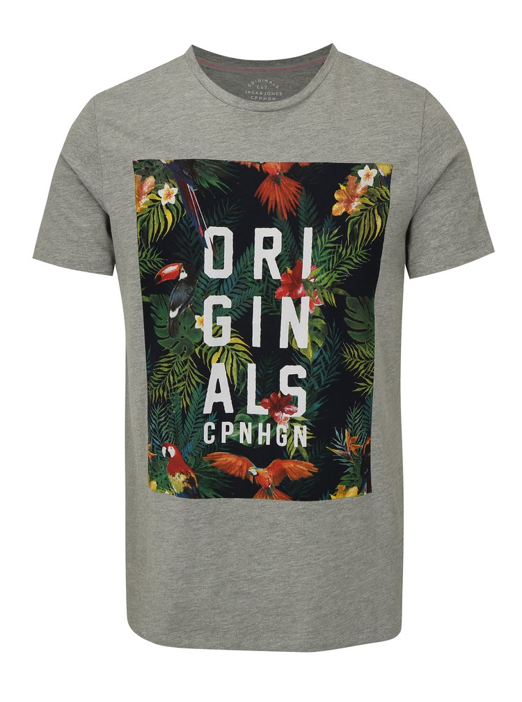 Šedé žíhané tričko s barevným potiskem Jack & Jones Rain