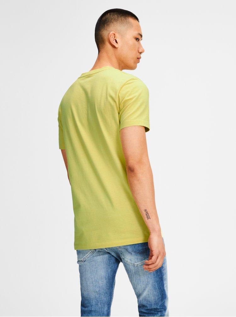 Žluté tričko s barevným potiskem Jack & Jones Rain