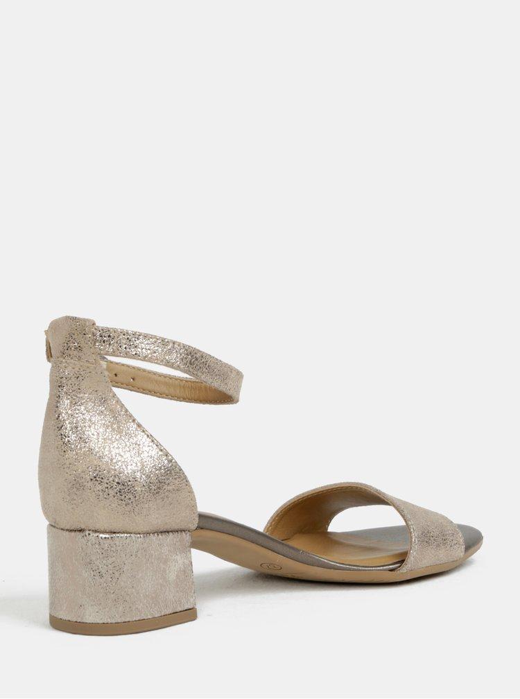 Kožené sandálky na podpatku ve zlaté barvě Tamaris