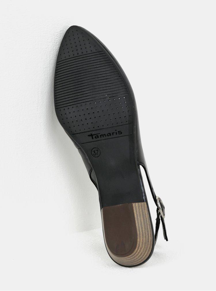 Černé kožené sandálky s otevřenou patou Tamaris
