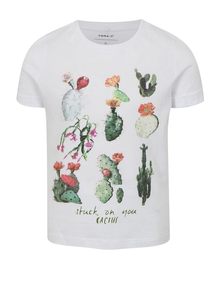 Bílé holčičí tričko s potiskem kaktusů name it jin