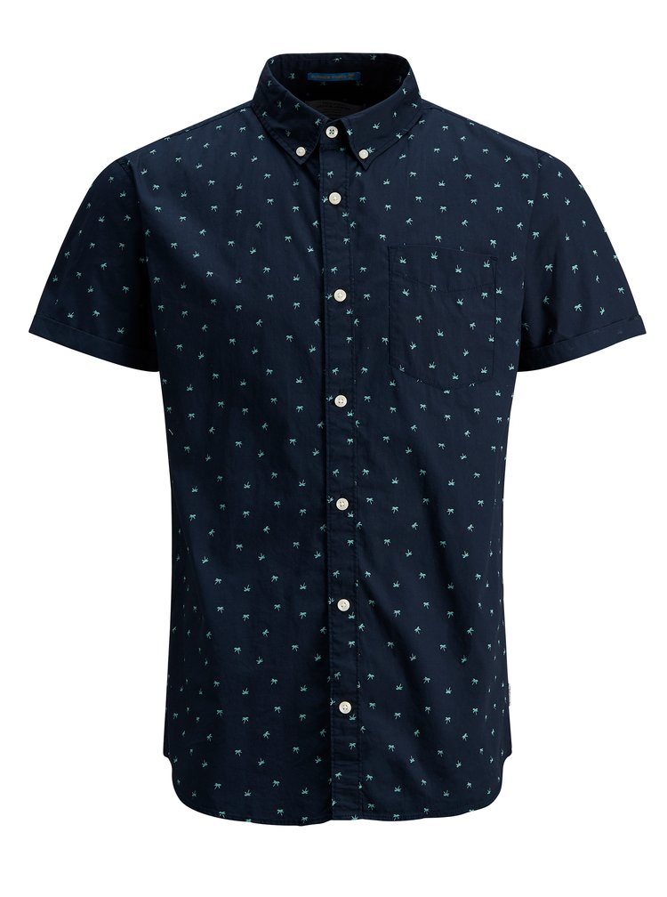Tmavě modrá košile s motivem palmy a krátkým rukávem Jack & Jones Cambridge