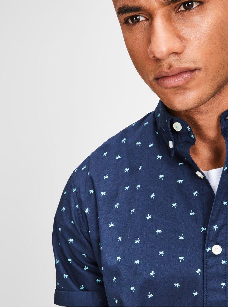 Camasa albastru inchis cu print de palmieri si maneci scurte Jack & Jones Cambridge