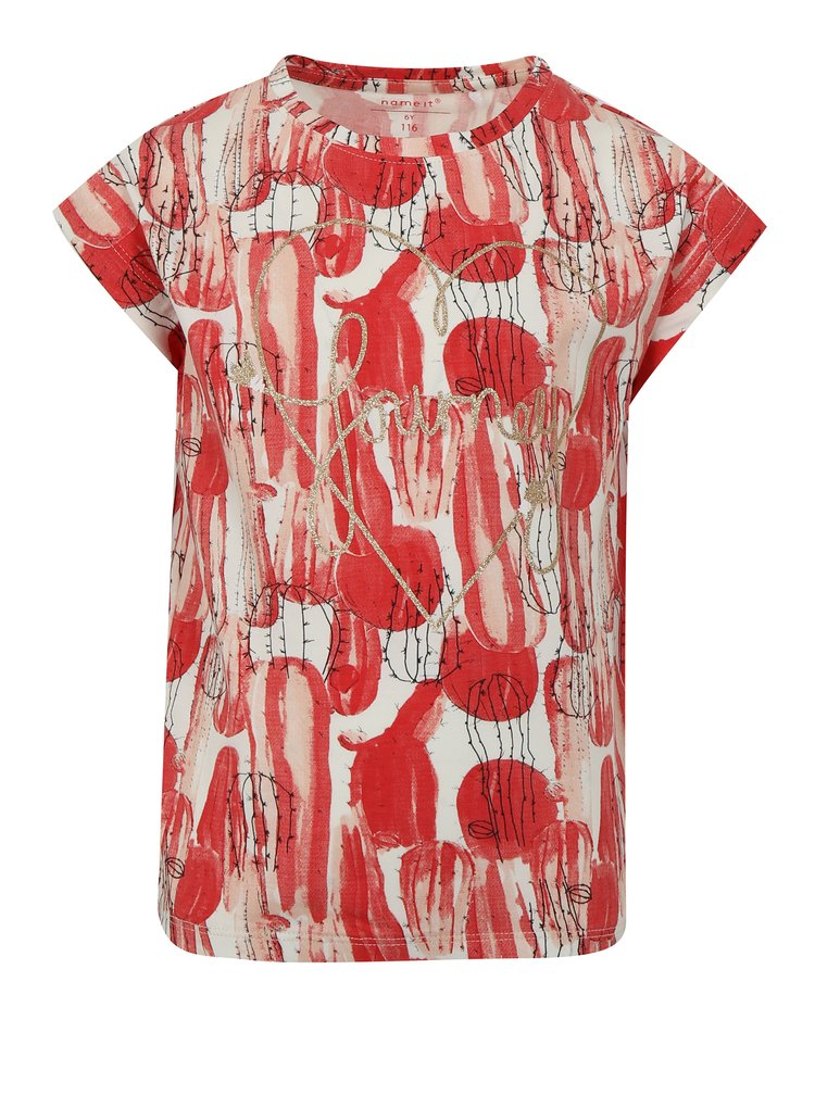 Bílo-červené holčičí tričko s potiskem name it Julie