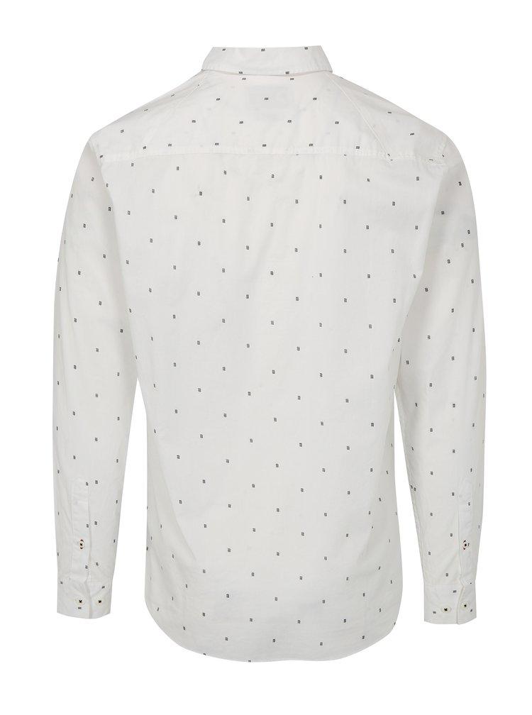 Bílá vzorovaná slim fit košile s dlouhým rukávem Jack & Jones Philip