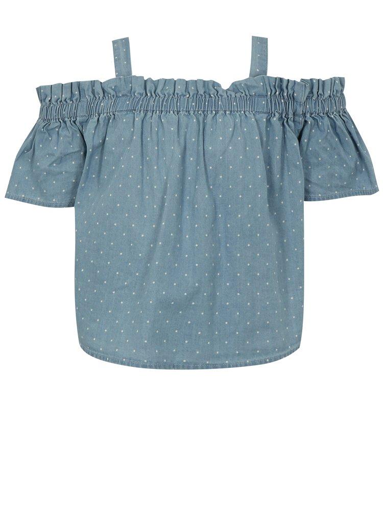 Modrá holčičí puntíkovaná halenka s odhalenými rameny name it Blina