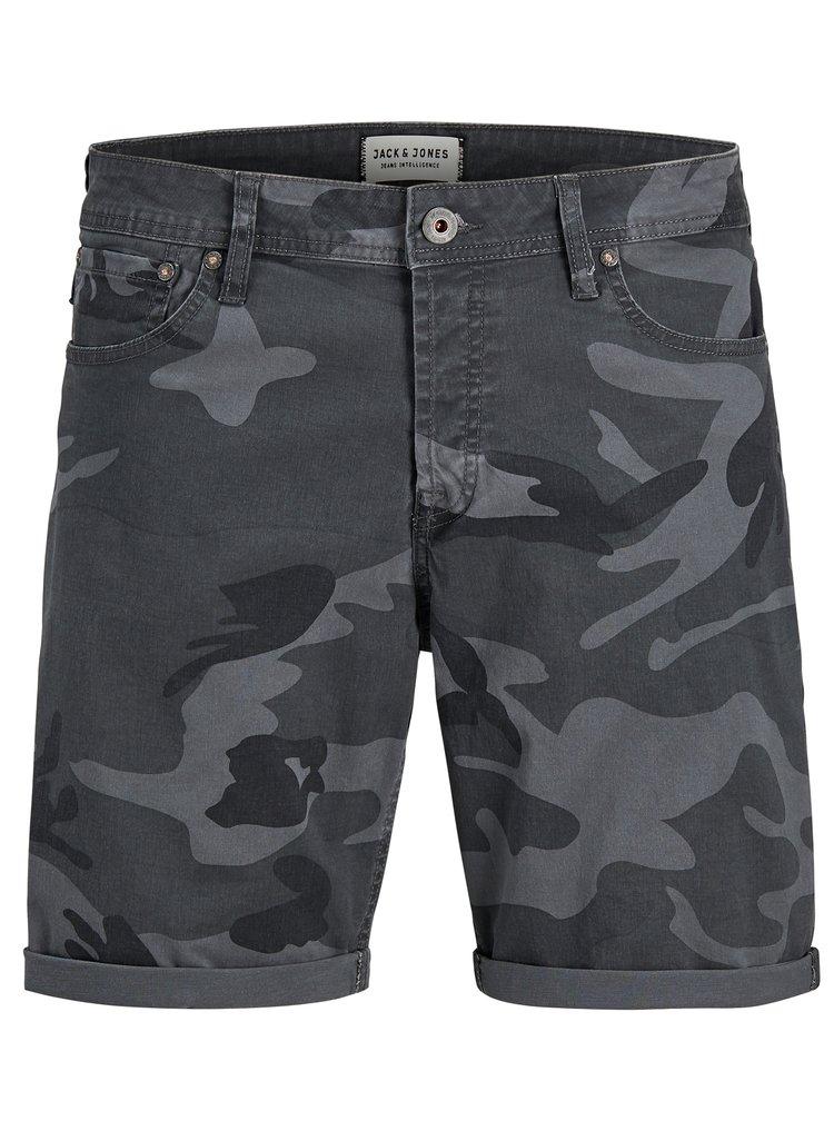 Tmavě šedé comfort fit kraťasy s army vzorem Jack & Jones Rick