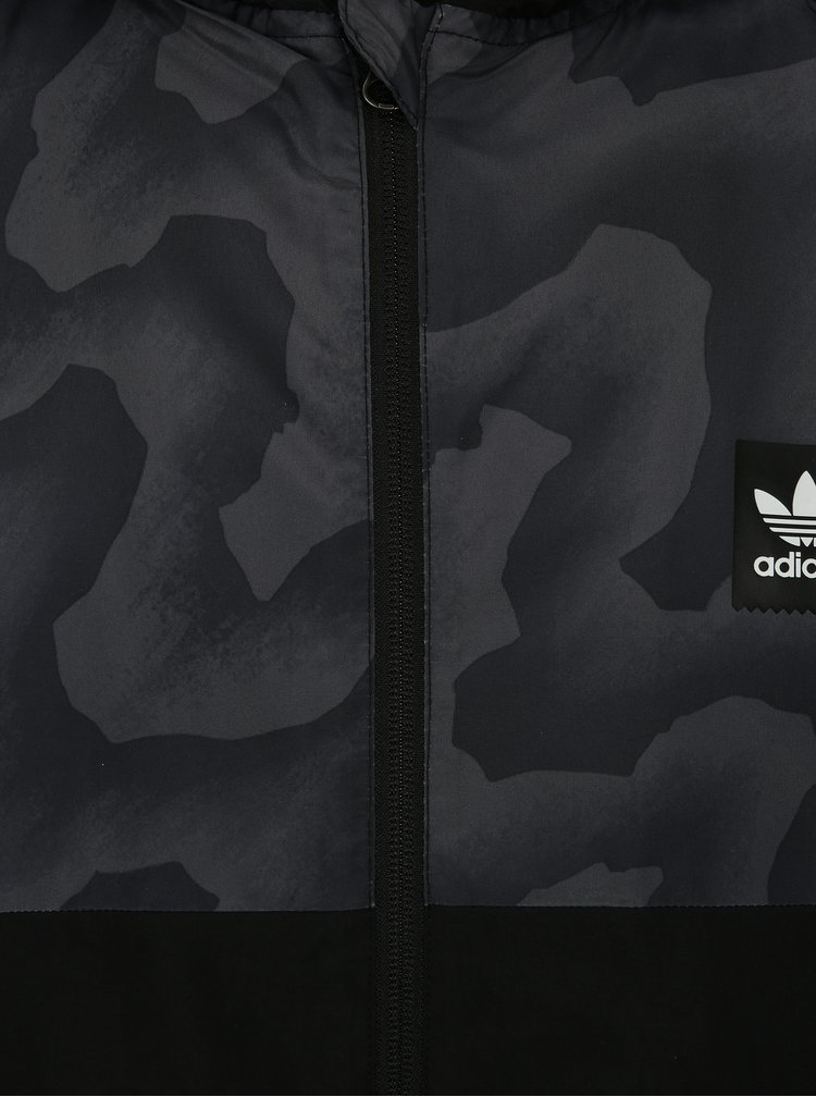Jacheta neagra rezistenta la vant cu model pentru barbati adidas Originals