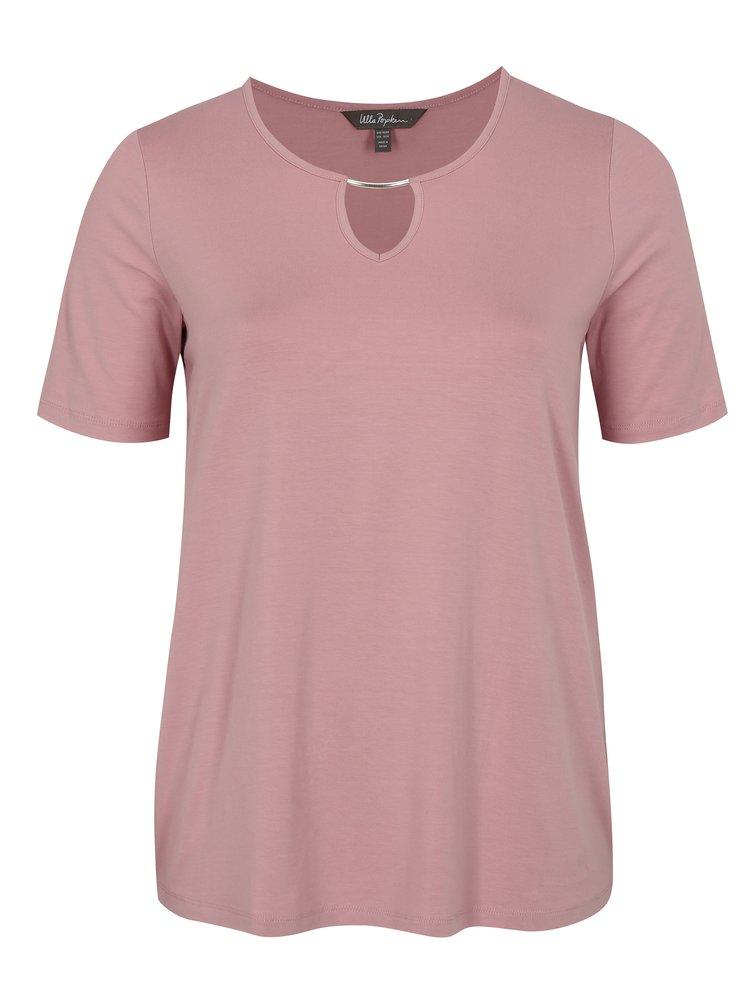 Starorůžové tričko s průstřihem Ulla Popken