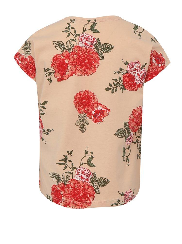 Meruňkové holčičí květované tričko name it Vigga