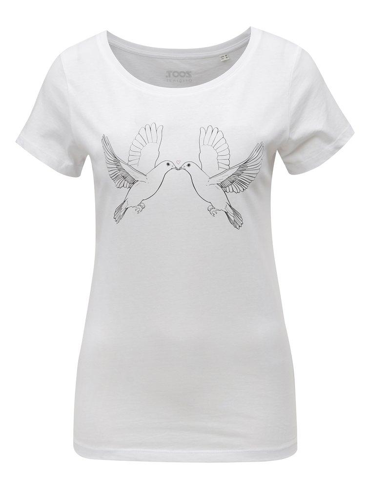 Bílé dámské tričko s potiskem ZOOT Holubičky