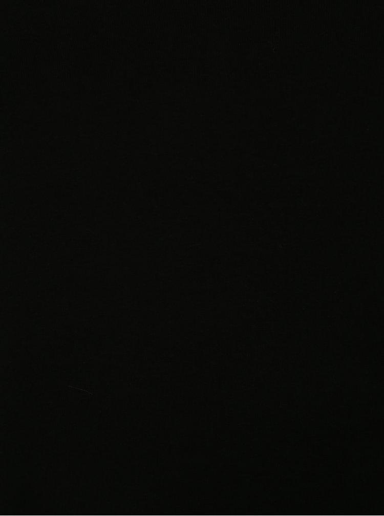Černé tričko s pásky v dekoltu Ulla Popken