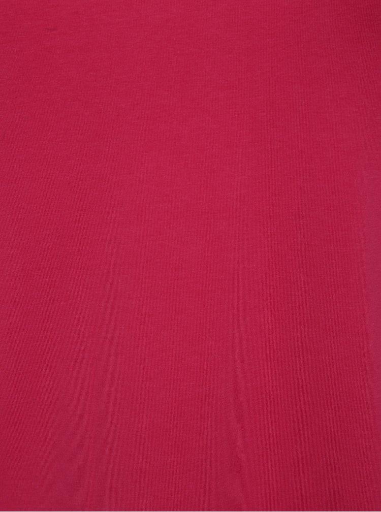 Růžové tričko s pásky v dekoltu Ulla Popken