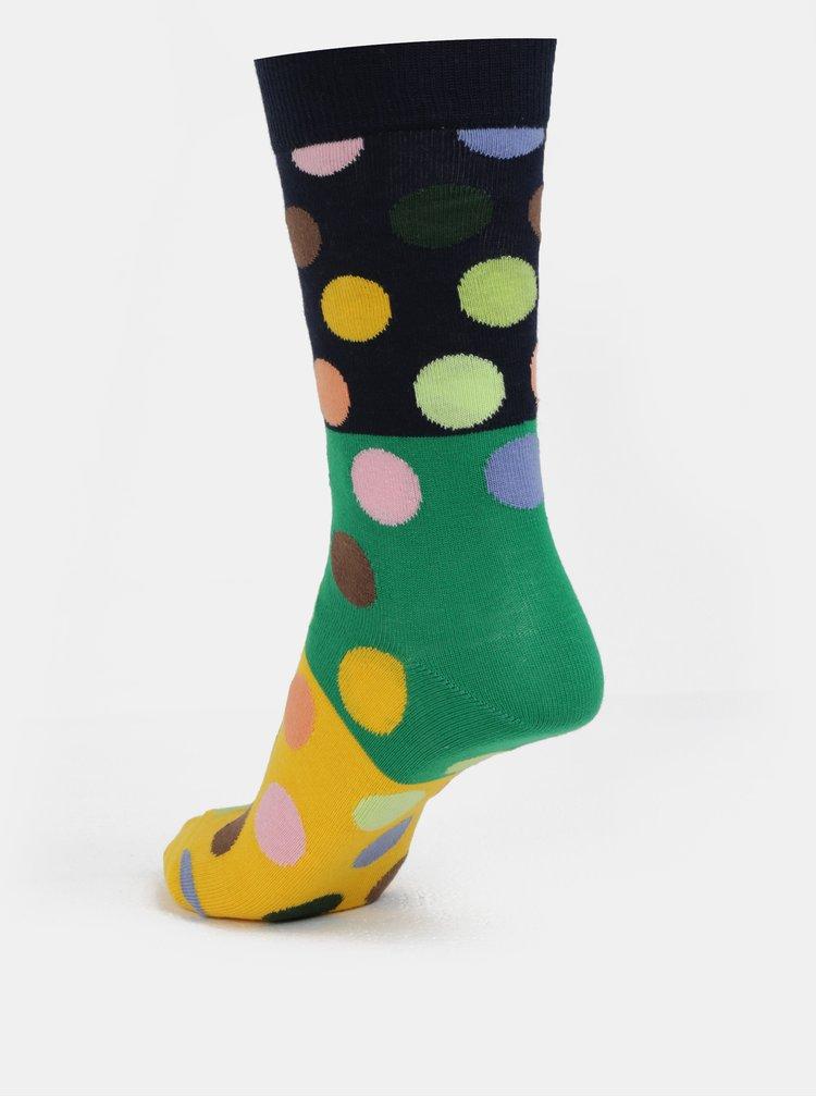 Modro-žluté dámské puntíkované ponožky Happy Socks
