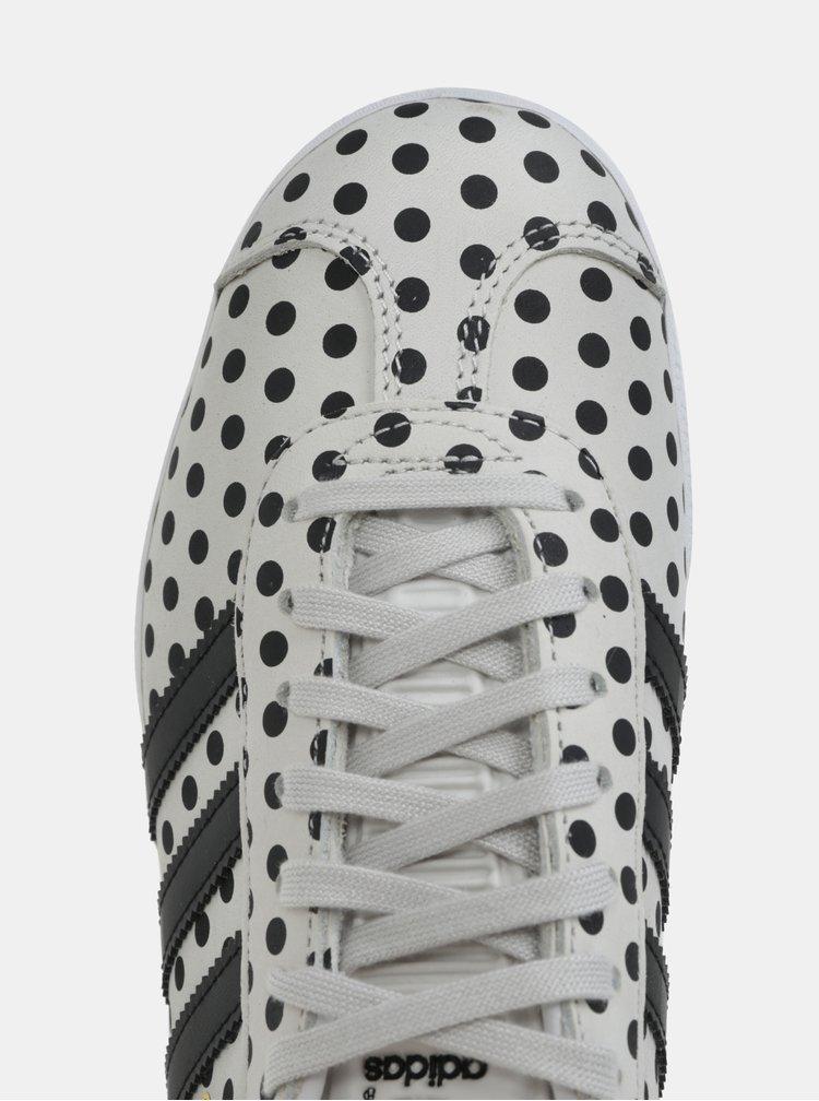 Šedé dámské puntíkované kožené tenisky adidas Originals Gazelle