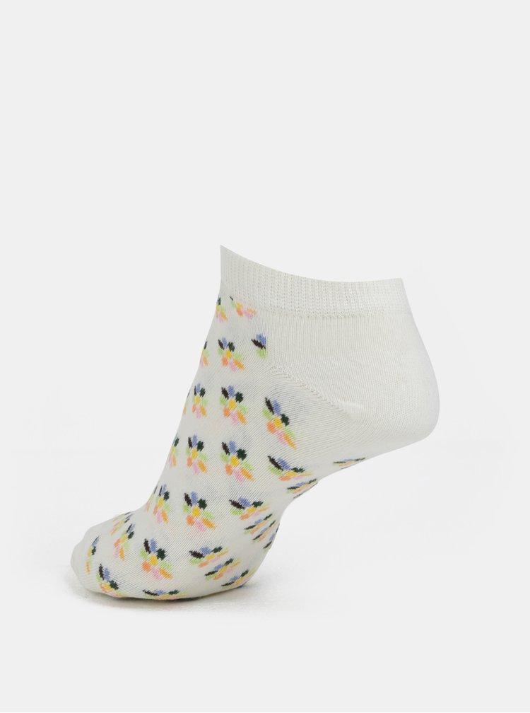 Krémové dámské květované sneakers ponožky Happy Socks Mini Flower