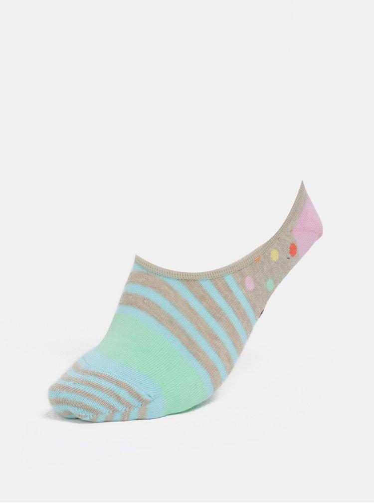 Modro-hnědé dámské sneakers ponožky Happy Socks Stripes & Dots Liner