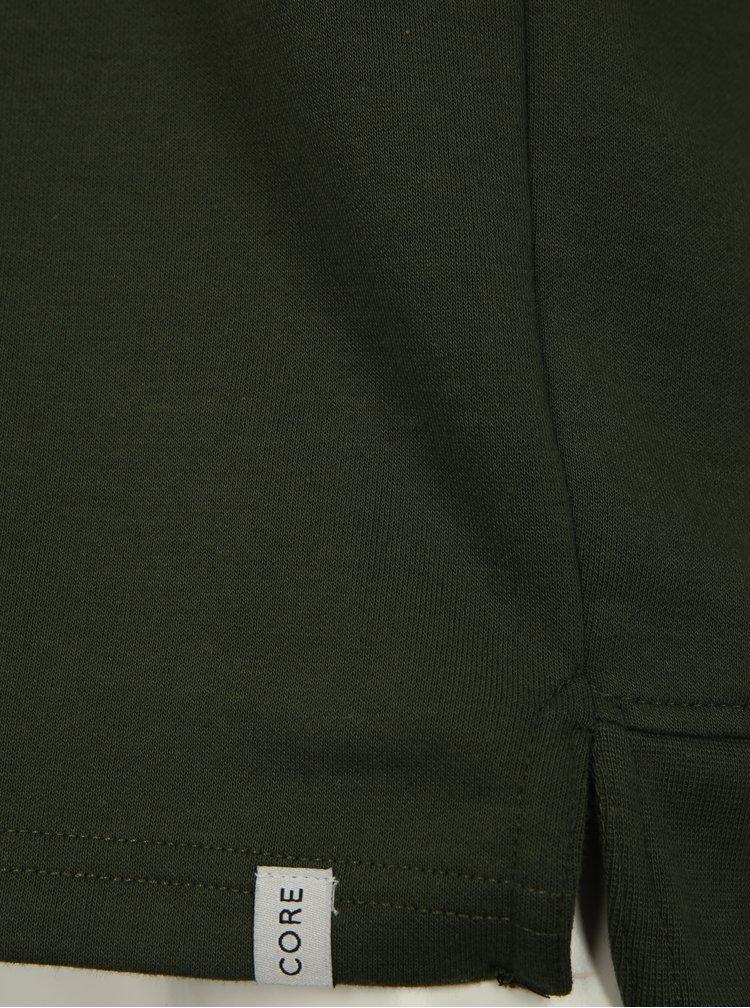 Tmavě zelená mikina s kapucí a potiskem na zádech Jack & Jones Glandale