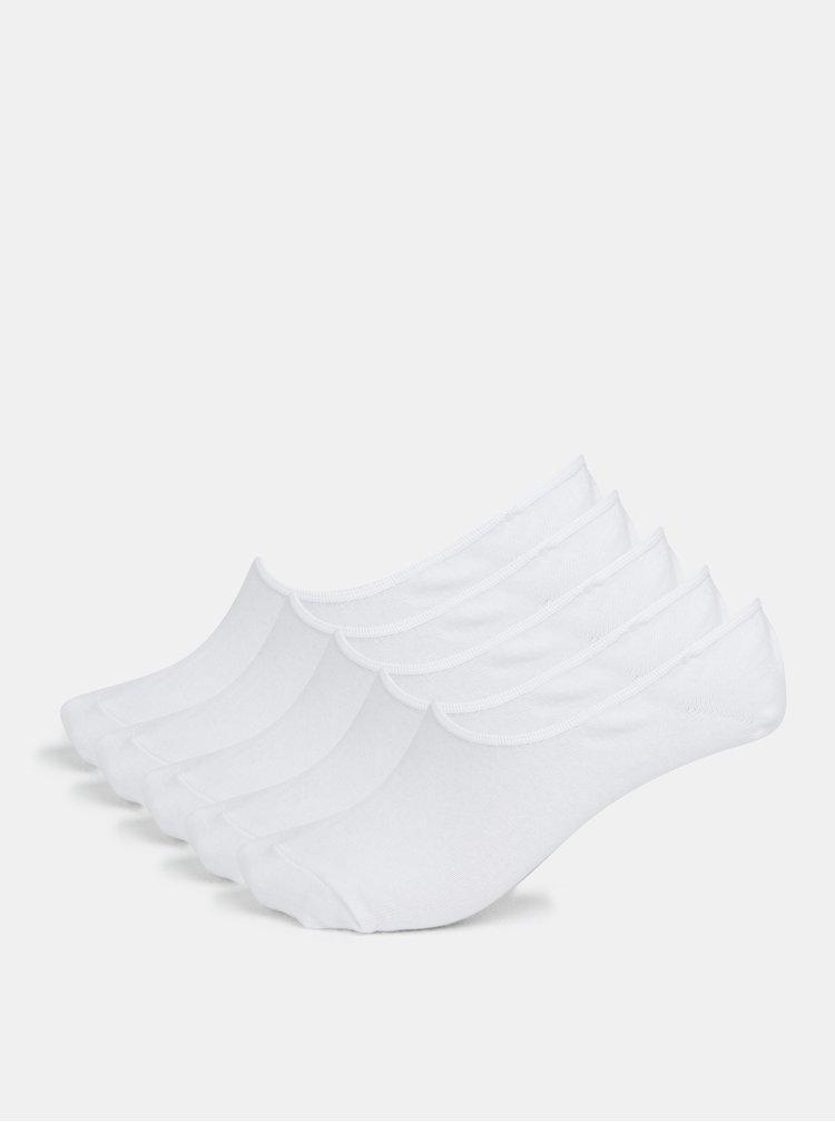 Sada pěti párů nízkých ponožek v bílé barvě Jack & Jones Basic