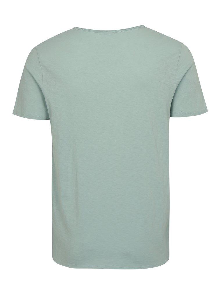 Mentolové žíhané tričko s potiskem Selected Homme Casy