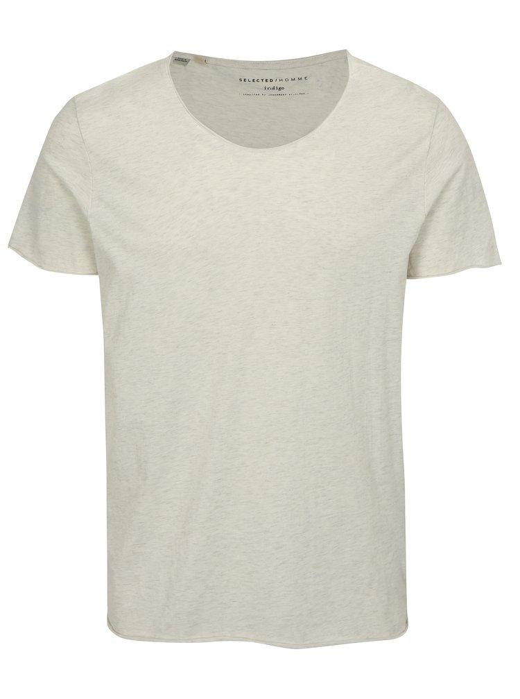Světle šedé žíhané tričko Selected Homme Shine