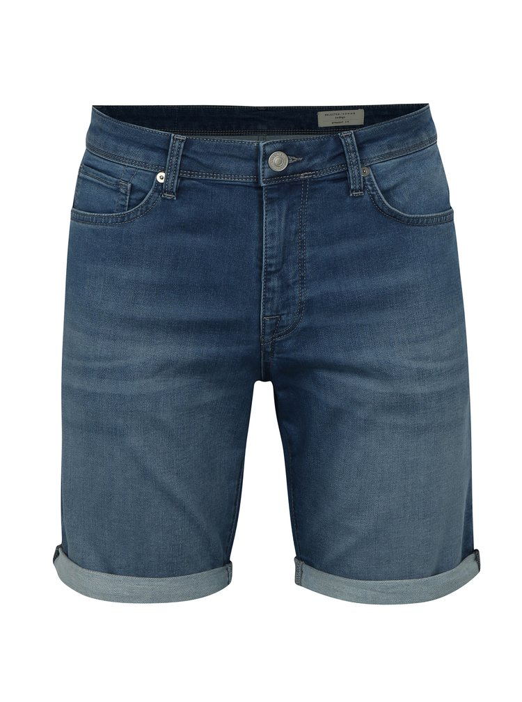 Modré džínové straight fit kraťasy Selected Homme Lucas