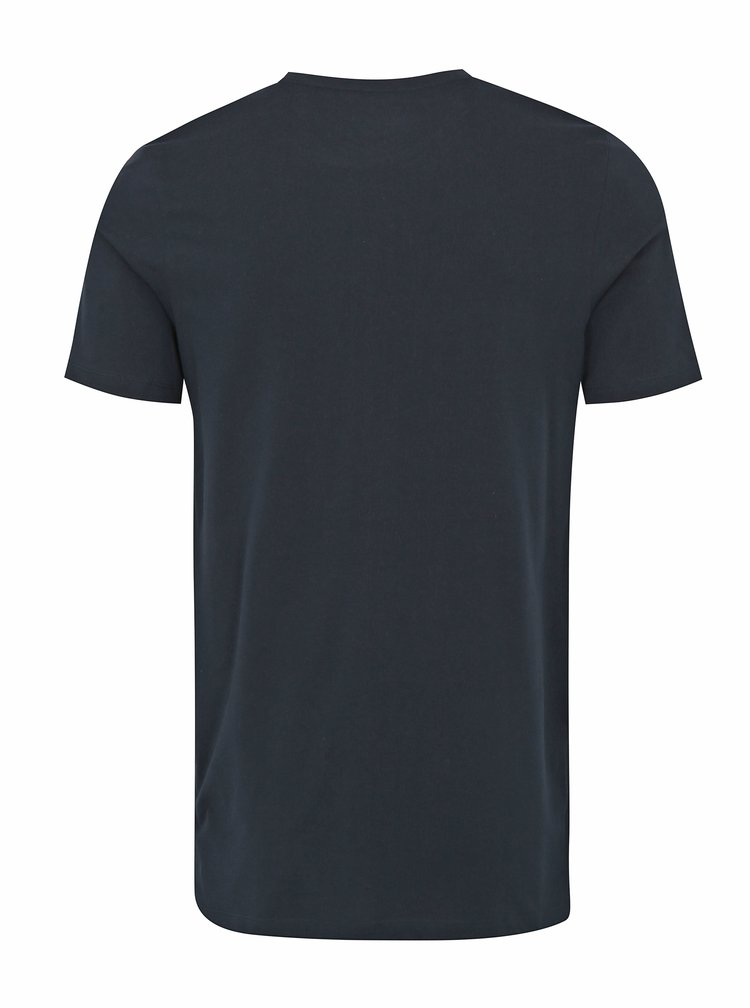Tmavě modré tričko s barevným potiskem Jack & Jones Rain
