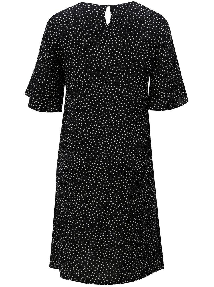 Černé vzorované šaty s 3/4 rukávem Ulla Popken