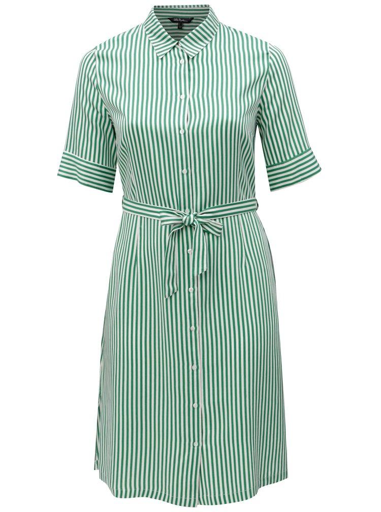 Bílo-zelené pruhované šaty s páskem Ulla Popken