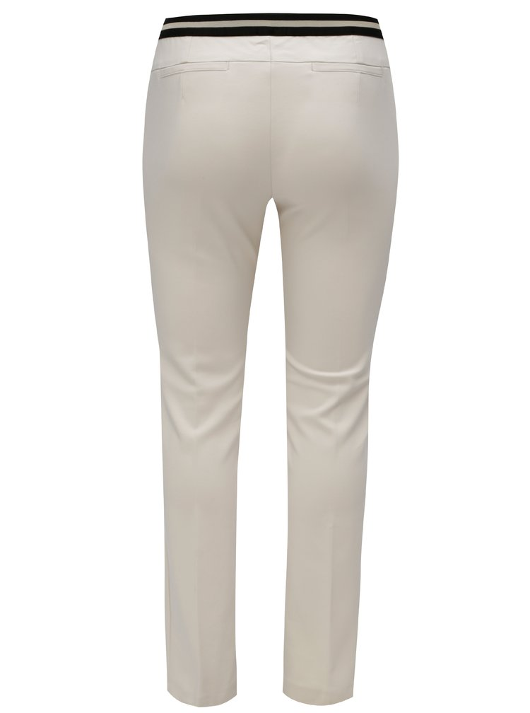 Pantaloni crem cu croi slim si banda elastica in talie Ulla Popken