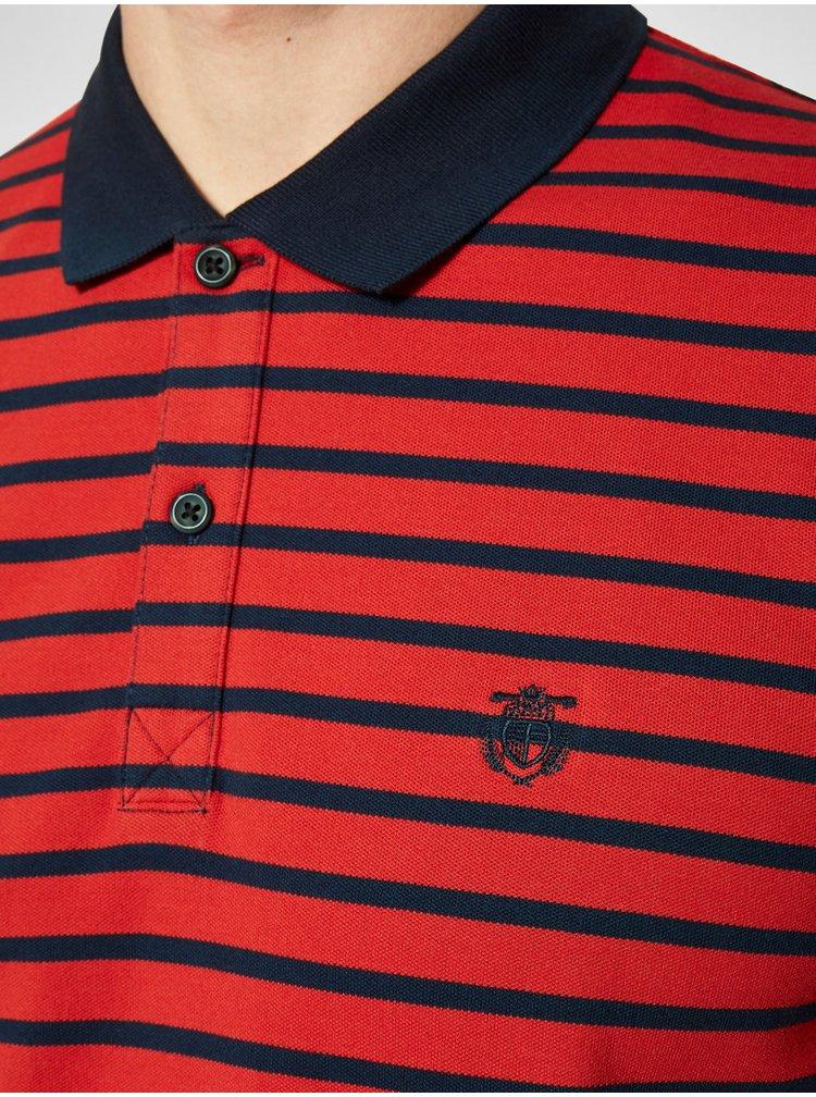 Modro-červené pruhované polo tričko Selected Homme